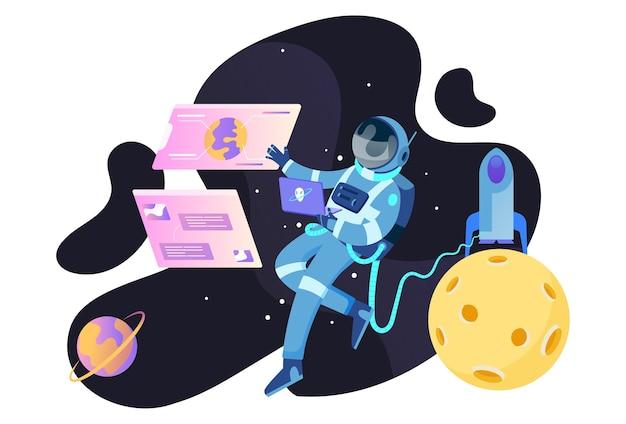 Astronaut ruimteschip illustratie concept voor website en mobiel Premium Vector