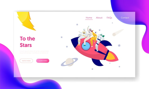 Astronaut team travel rocket intergalactic space landing page. Premium Vector