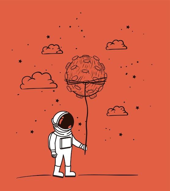 Astronaut tekent met asteroïde Gratis Vector