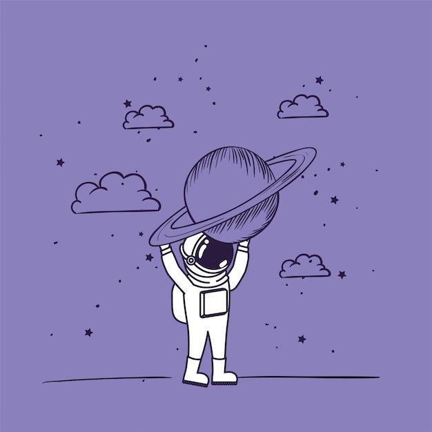Astronaut tekent met planeet Gratis Vector