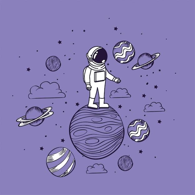 Astronaut tekent met planeten Gratis Vector