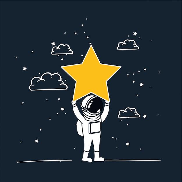 Astronaut trekt met gele ster Gratis Vector