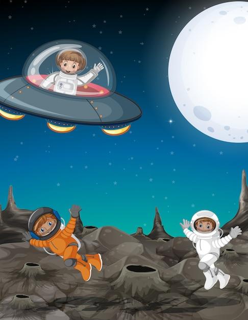 Astronaut verkennen de ruimte Gratis Vector
