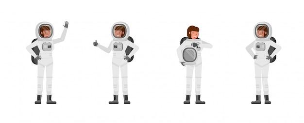 Astronaut vrouw tekenset Premium Vector