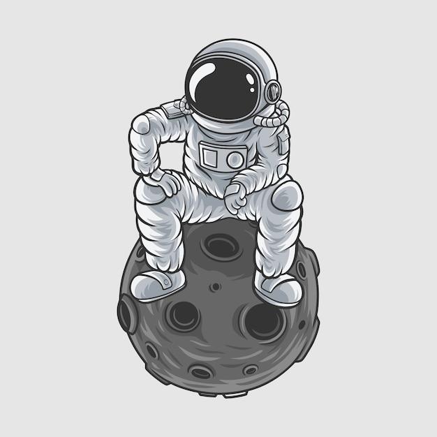 Astronauten meester van de maan Premium Vector