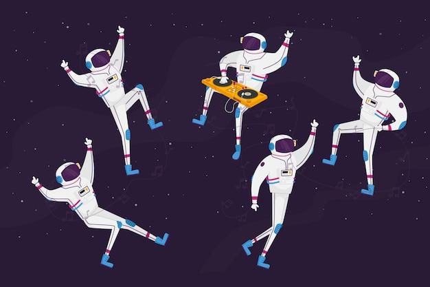 Astronauten-personages dansen met dj-draaitafel in open ruimte Premium Vector
