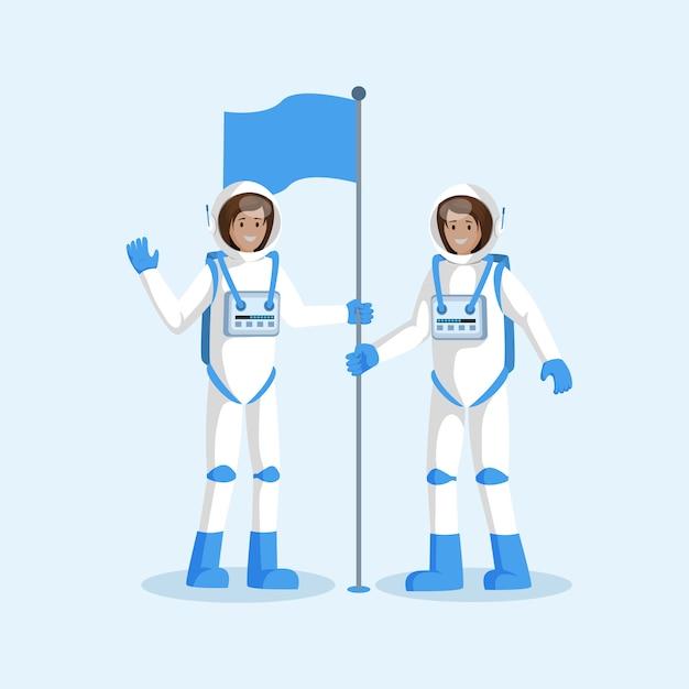 Astronauten team plaatsen vlag plat Premium Vector