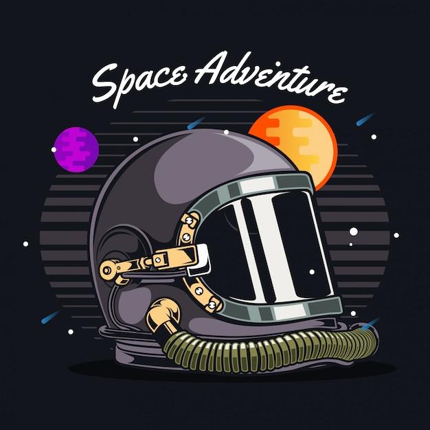 Astronautenhelm in de ruimte Premium Vector