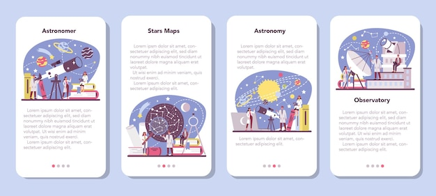 Astronomie en astronoom banner set voor mobiele applicaties. Premium Vector