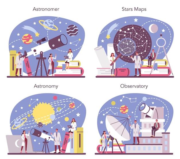 Astronomie en astronoom concept set. professionele wetenschapper die door een telescoop naar de sterren in observatorium kijkt. astrofysicus studie sterrenkaart. geïsoleerde vectorillustratie Premium Vector