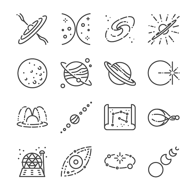 Astronomie lijn pictogramserie. Premium Vector
