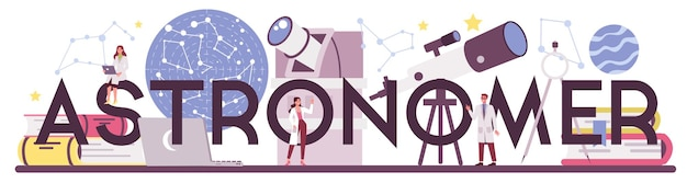 Astronoom en astronoom typografisch woord. professionele wetenschapper die door een telescoop naar de sterren in observatorium kijkt. astrofysicus studie sterrenkaart. geïsoleerde vectorillustratie Premium Vector