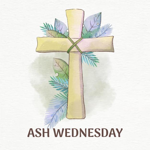 Aswoensdag kruis in aquarel Gratis Vector