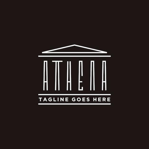 Athena typografie met grieks historisch gebouw logo-ontwerp Premium Vector