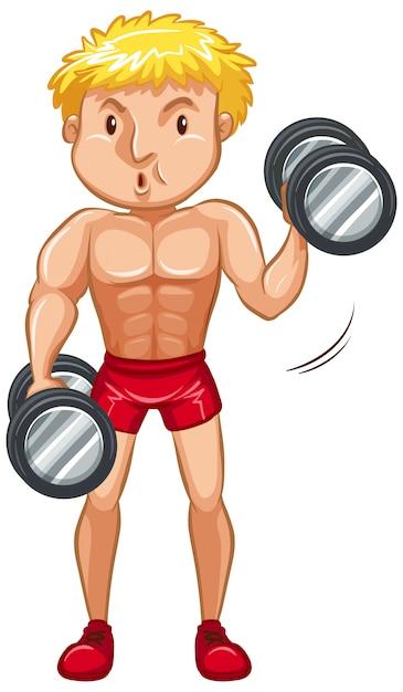 Atleet doet gewichtheffen Gratis Vector