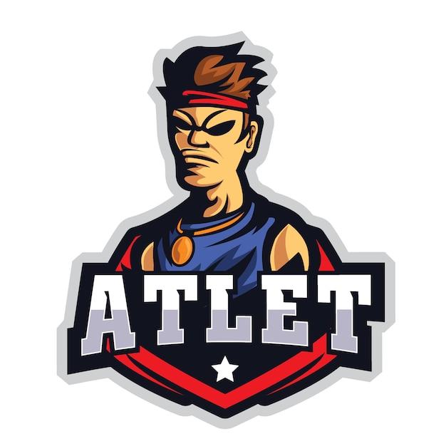 Atleet e sports-logo Premium Vector