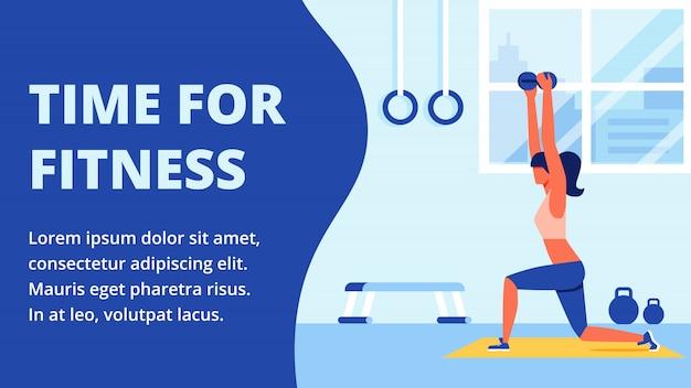 Atleet in sportkleding die zich bezighouden met fitnessruimte Premium Vector