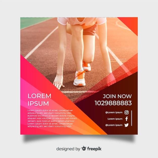 Atleet poster sjabloon met foto Gratis Vector