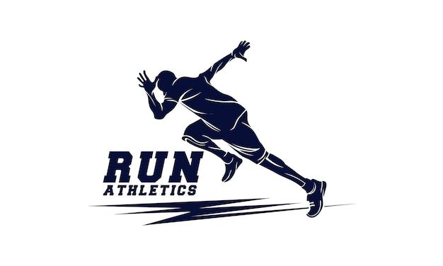 Atletiek. rennende man. sport embleem Premium Vector