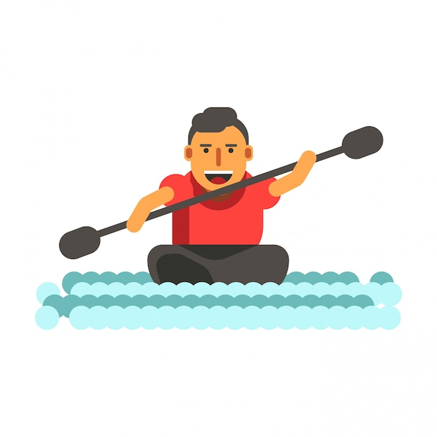 Atletische man zwemt op zwarte single-stoel kajak kano geïsoleerd Premium Vector