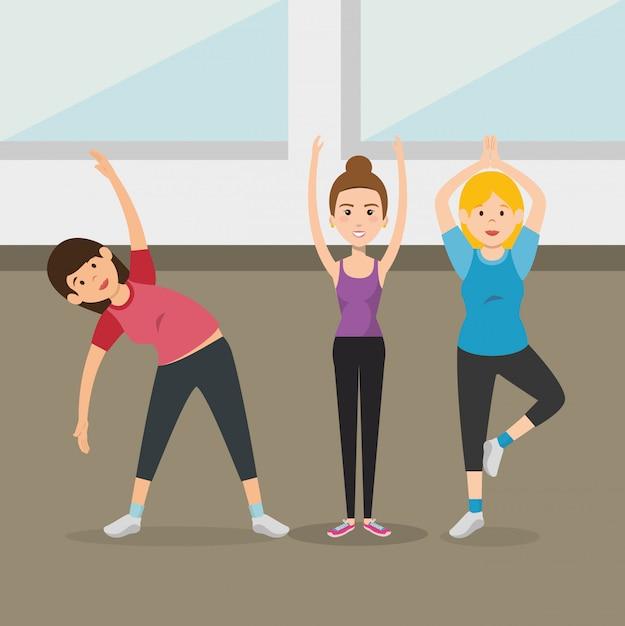 Atletische mensen oefenen oefenpersonages Gratis Vector