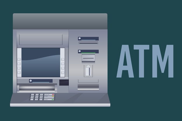 Atm-bankautomaat Premium Vector