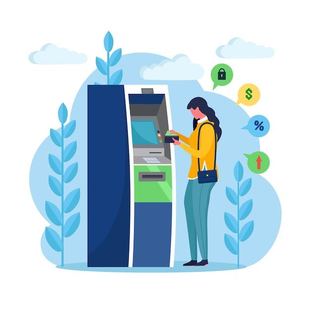 Atm-bankterminal. vrouw klant permanent in de buurt van de machine van de creditcardlezer en geld opnemen. cartoon ontwerp Premium Vector