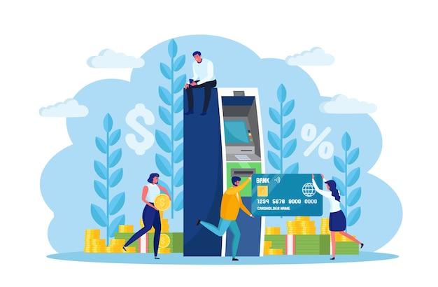 Atm-bankterminal. vrouw, man klant die zich dichtbij de machine van de creditcardlezer bevindt en geld trekt. karakter met contant geld, valuta. cartoon ontwerp Premium Vector