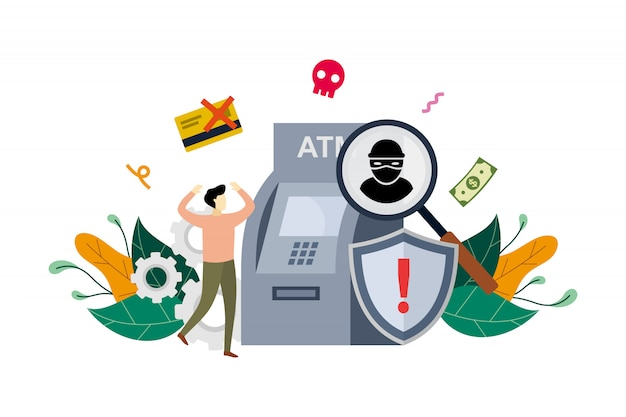 Atm cyber misdaad concept illustratie Premium Vector