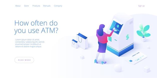 Atm-machine concept. vrouw trekt zich terug uit geldautomaat of online geldoverdracht. Premium Vector