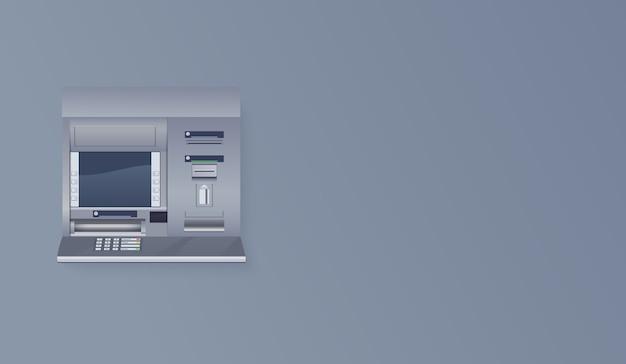 Atm op lege muur. automated teller machine realistische afbeelding Premium Vector