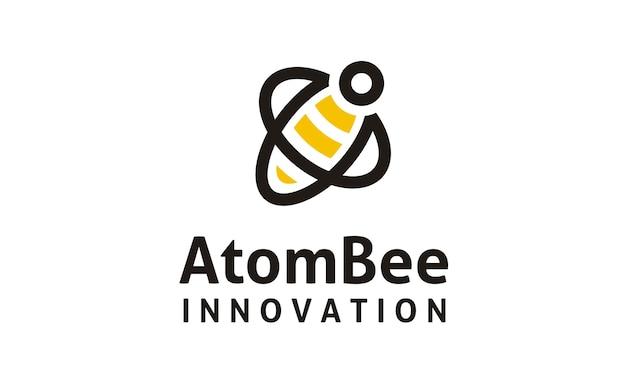 Atom en bee logo ontwerp Premium Vector