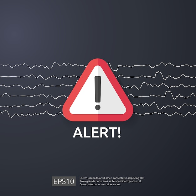 Attentie waarschuwing aanvaller waarschuwingsbord met uitroepteken. pas op alertheid van internet gevaar symbool. schild lijn pictogram voor vpn. Premium Vector