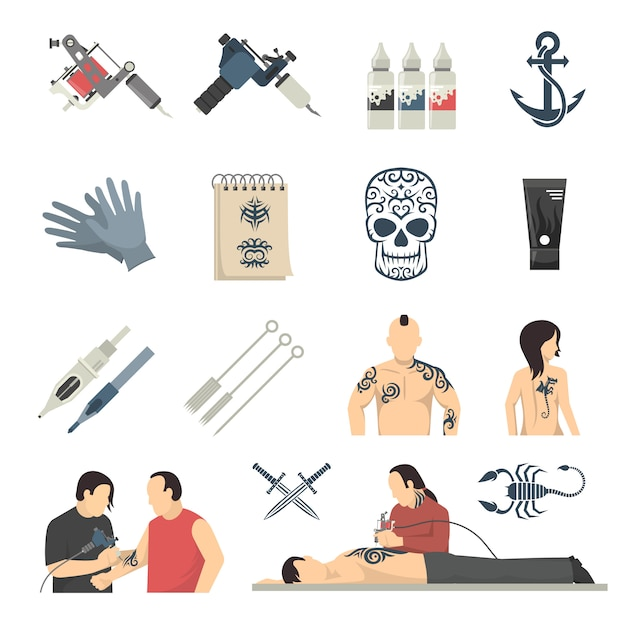 Attoo studio flat icons collection Gratis Vector