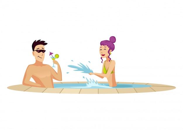 Attractie in waterpark. twee rusten in een klein zwembad. man die een cocktail drinkt. vlakke stijl geïsoleerd Premium Vector