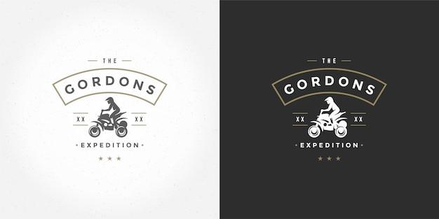 Atv logo embleem illustratie off road bergen expeditie Premium Vector