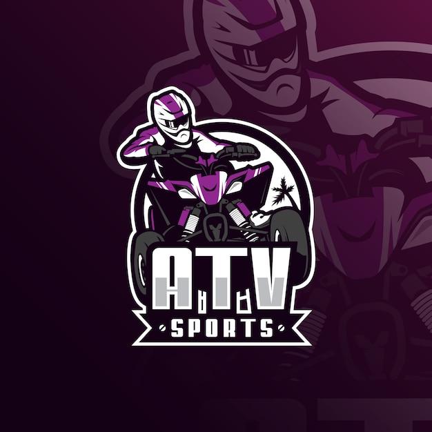Atv-motocross-mascotte-logo met moderne illustratiestijl voor afdrukken van insignes, embleem en t-shirts. Premium Vector