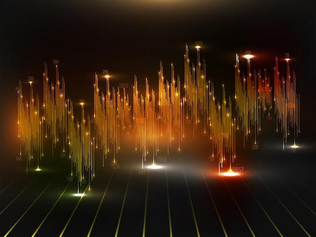 Audio- of geluidsgolfvormanimatie met lichteffect voor big data-conceptachtergrond Premium Vector