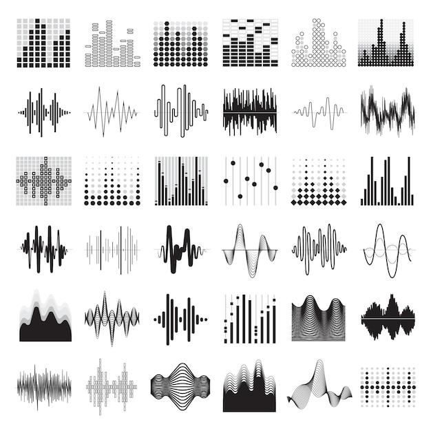 Audioequaliser zwarte witte pictogrammen geplaatst vlak geïsoleerde vectorillustratie Gratis Vector