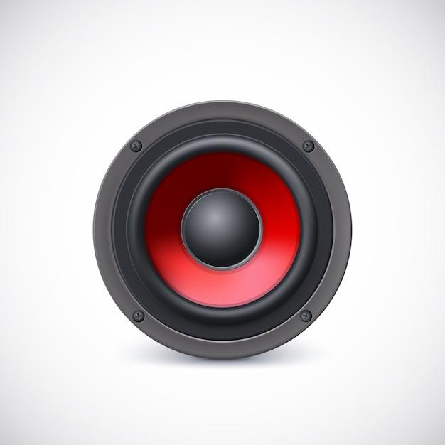 Audiospreker met rode diffuser Premium Vector
