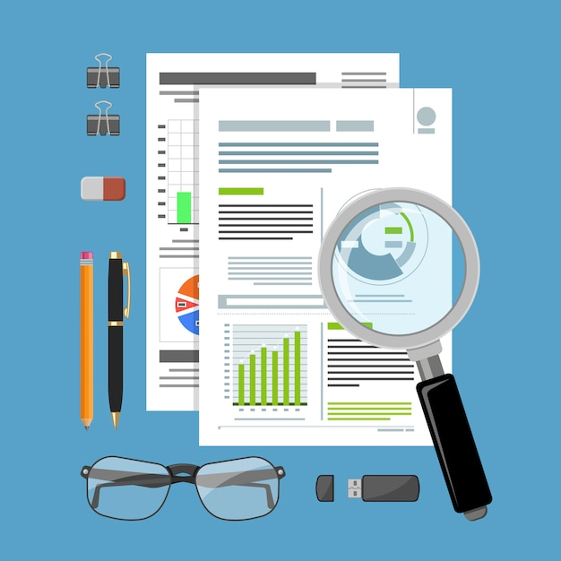 Auditing, belastingproces, boekhoudconcept Premium Vector