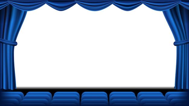 Auditorium met zitplaatsen vector. blauw gordijn. theater, bioscoopscherm en stoelen. podium en stoelen. blauw gordijn. theater. realistische illustratie. Premium Vector