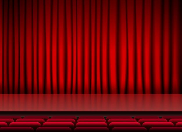 Auditorium podiumdispater met rode gordijnen en stoelen Vector ...