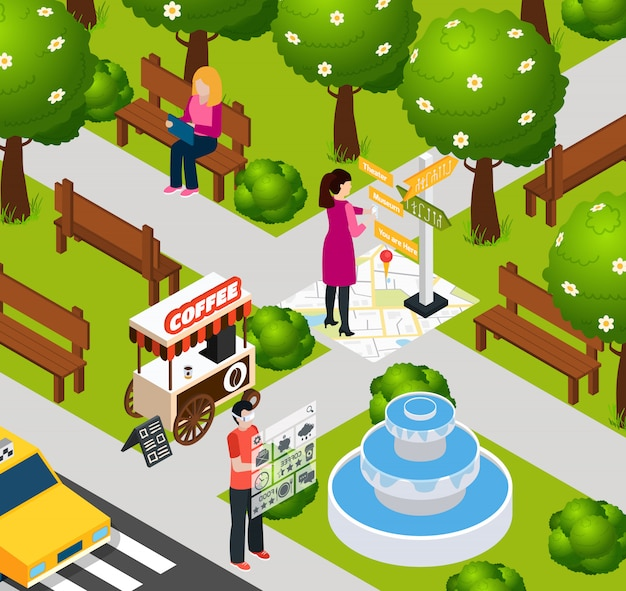 Augmented reality park-samenstelling Gratis Vector