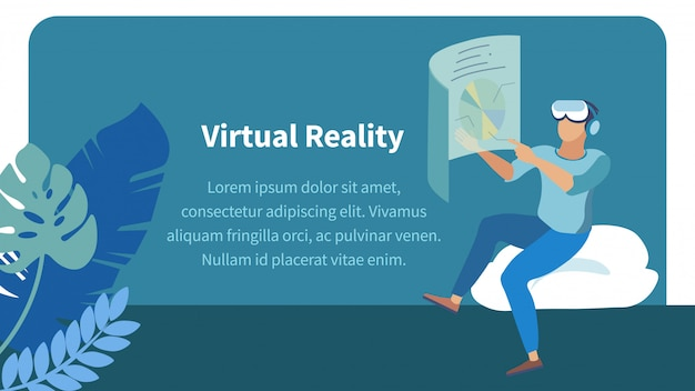 Augmented reality technology flat banner Premium Vector