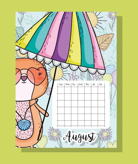 Augustus-kalenderinformatie met eekhoorn en bloemen Premium Vector