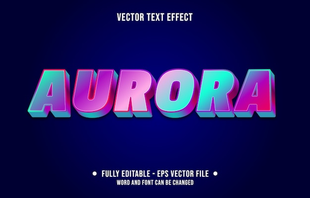 Aurora bewerkbaar teksteffect moderne verloopstijl Premium Vector