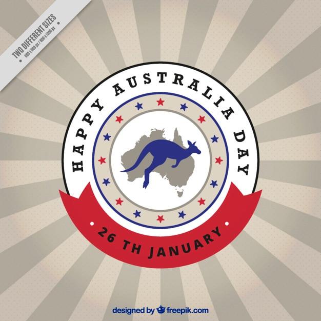 Australië dag achtergrond met kangoeroe en kaart in een cirkel Gratis Vector