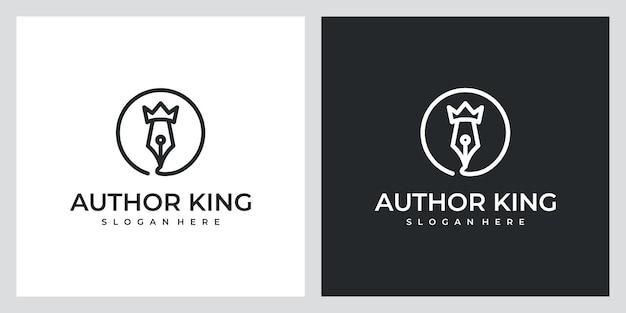 Auteur koning met prachtige lijntekeningen logo-ontwerpinspiratie Premium Vector