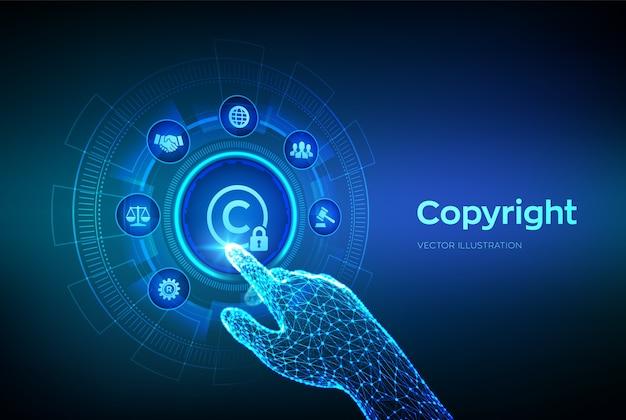 Auteursrechten. octrooien en intellectuele eigendomsrechten en rechten. robotachtige hand wat betreft digitale interface. Premium Vector
